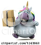 Clipart Of A 3d Chubby Unicorn Holding Boxes On A White Background Royalty Free Illustration by Julos