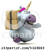 Clipart Of A 3d Unicorn Holding Boxes On A White Background Royalty Free Illustration by Julos