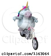 Clipart Of A 3d Chubby Unicorn Biker Riding A Chopper Motorcycle On A White Background Royalty Free Illustration by Julos
