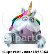 Clipart Of A 3d Chubby Unicorn Holding A Thumb Down On A White Background Royalty Free Illustration by Julos
