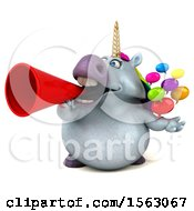 Clipart Of A 3d Chubby Unicorn Holding Messages On A White Background Royalty Free Illustration by Julos