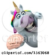 Clipart Of A 3d Chubby Unicorn Holding A Brain On A White Background Royalty Free Illustration by Julos