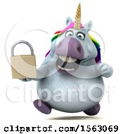 Clipart Of A 3d Chubby Unicorn Holding A Padlock On A White Background Royalty Free Illustration by Julos