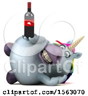 Clipart Of A 3d Chubby Unicorn Holding Wine On A White Background Royalty Free Illustration by Julos