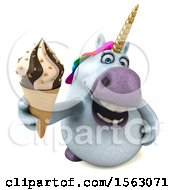 Clipart Of A 3d Chubby Unicorn Holding A Waffle Cone On A White Background Royalty Free Illustration by Julos
