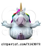 Clipart Of A 3d Unicorn Meditating On A White Background Royalty Free Illustration by Julos