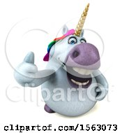 Clipart Of A 3d Unicorn Holding A Thumb Up On A White Background Royalty Free Illustration by Julos