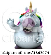 Clipart Of A 3d Chubby Unicorn Waving On A White Background Royalty Free Illustration