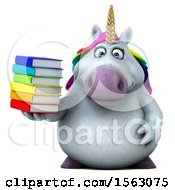 Clipart Of A 3d Chubby Unicorn Holding Books On A White Background Royalty Free Illustration by Julos
