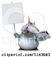 Clipart Of A 3d Chubby Unicorn Holding A Plane On A White Background Royalty Free Illustration