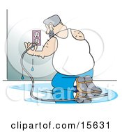 Foolish Man Kneeling In A Puddle Of Water And Plugging An Appliance Into An Electrical Wall Socket
