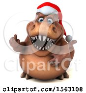3d Brown Christmas T Rex Dinosaur Running On A White Background