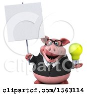 3d Chubby Business Pig Holding A Light Bulb On A White Background