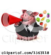 3d Chubby Business Pig Holding Produce On A White Background