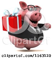 3d Chubby Business Pig Holding A Gift On A White Background