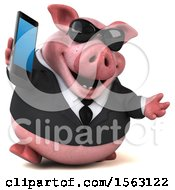3d Chubby Business Pig Holding A Cell Phone On A White Background