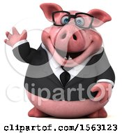 3d Chubby Business Pig Waving On A White Background