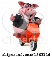3d Chubby Business Pig Riding A Scooter On A White Background
