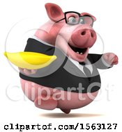 3d Chubby Business Pig Holding A Banana On A White Background