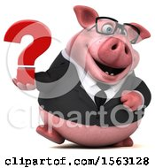 3d Chubby Business Pig Holding A Question Mark On A White Background