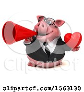 3d Chubby Business Pig Holding A Heart On A White Background