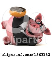 3d Chubby Business Pig Holding A Donut On A White Background