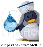Clipart Of A 3d Chubby Penguin Sailor Holding A Water Drop On A White Background Royalty Free Illustration