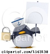 Clipart Of A 3d Chubby Penguin Sailor Holding A Padlock On A White Background Royalty Free Illustration