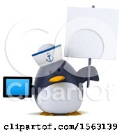 Clipart Of A 3d Chubby Penguin Sailor Holding A Tablet On A White Background Royalty Free Illustration