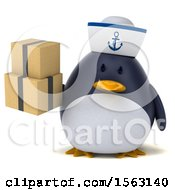 Clipart Of A 3d Chubby Penguin Sailor Holding Boxes On A White Background Royalty Free Illustration