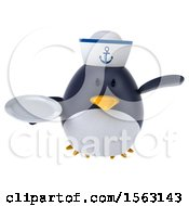 Clipart Of A 3d Chubby Penguin Sailor Holding A Plate On A White Background Royalty Free Illustration