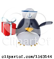 Clipart Of A 3d Chubby Penguin Sailor Holding A Gift On A White Background Royalty Free Illustration