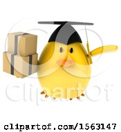 Clipart Of A 3d Yellow Bird Graduate Holding Boxes On A White Background Royalty Free Illustration