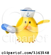 Clipart Of A 3d Yellow Bird Sailor Holding A Pill On A White Background Royalty Free Illustration