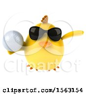 3d Yellow Bird Holding A Golf Ball On A White Background
