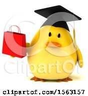 3d Yellow Bird Graduate Holding A Shopping Bag On A White Background