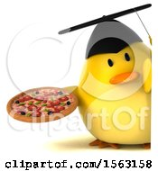 Clipart Of A 3d Yellow Bird Graduate Holding A Pizza On A White Background Royalty Free Illustration