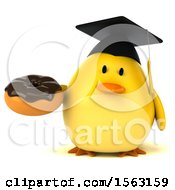 Clipart Of A 3d Yellow Bird Graduate Holding A Donut On A White Background Royalty Free Illustration