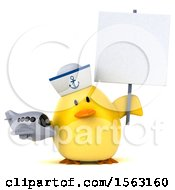 Clipart Of A 3d Yellow Bird Sailor Holding A Plane On A White Background Royalty Free Illustration