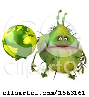 Clipart Of A 3d Green Germ Monster Holding A Globe On A White Background Royalty Free Illustration