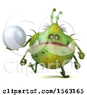 3d Green Germ Monster Holding A Golf Ball On A White Background