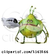 Clipart Of A 3d Green Germ Monster Holding A Plane On A White Background Royalty Free Illustration
