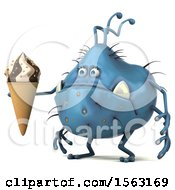 Clipart Of A 3d Blue Germ Monster Holding A Waffle Cone On A White Background Royalty Free Illustration