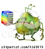 Clipart Of A 3d Green Germ Monster Holding Books On A White Background Royalty Free Illustration