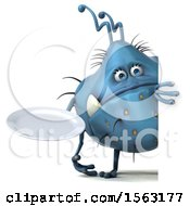 Clipart Of A 3d Blue Germ Monster Holding A Plate On A White Background Royalty Free Illustration
