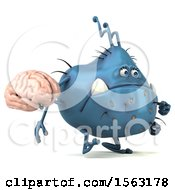 Clipart Of A 3d Blue Germ Monster Holding A Brain On A White Background Royalty Free Illustration