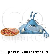 Clipart Of A 3d Blue Germ Monster Holding A Pizza On A White Background Royalty Free Illustration