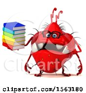 Clipart Of A 3d Red Germ Monster Holding Books On A White Background Royalty Free Illustration