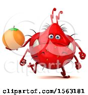 Clipart Of A 3d Red Germ Monster Holding An Orange On A White Background Royalty Free Illustration