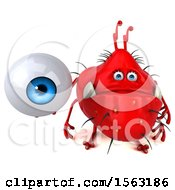 Clipart Of A 3d Red Germ Monster Holding An Eyeball On A White Background Royalty Free Illustration